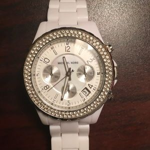 White Michael Kors Watch with crystals